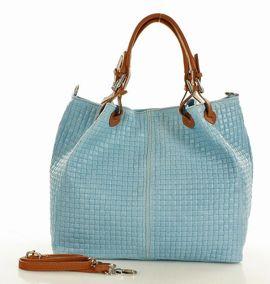 Skórzana torebka shopper MAZZINI - LINDA jasno niebieski