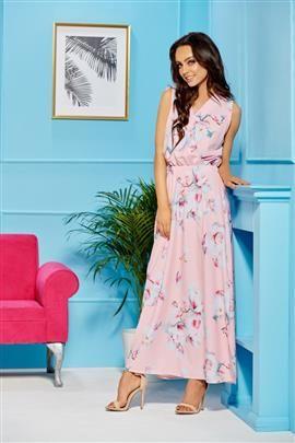 Sukienka maxi z kopertowym dekoltem pudrowy róż