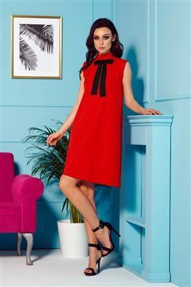 Sukienka z kokardą przy szyi czerwony