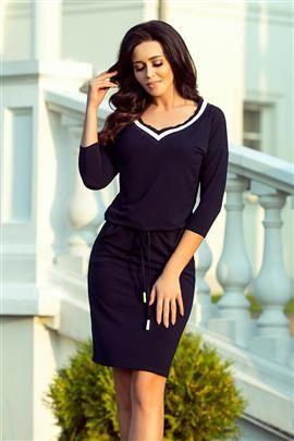 VENICE Sportowa sukienka ze ściągaczem - GRANATOWA