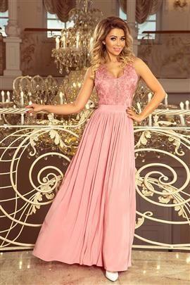 WIKTORIA długa suknia bez rękawków z haftowanym dekoltem - PUDROWY RÓŻ